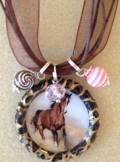 Brown horse cheetah bottle cap necklace with by BottleCapBling101, $10.00