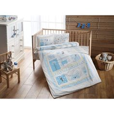 Organic Baby Bedding Set Bio-Sweet Farm Blue-Produced from organic cotton fiber. Organic Baby, Organic Cotton, Baby Bedding Sets, Quilt Cover, Pillow Cases, Toddler Bed, Buy And Sell, Pillows, Anne