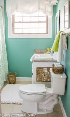 Beautiful and budget friendly master bathroom makeover from @Four Generations One Roof