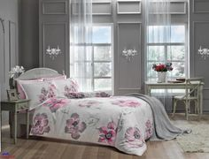 Beautiful Duvet Cover for Elegant Your Bedroom Interior Design: Contemporary Bedroom Interior Design With Floral Duvet Cover And Wall Lamp Beside Double Glass Window Including Gray Painting Wall Decor Also Wood Flooring Ideas ~ justsoakit.com Bedroom Inspiration