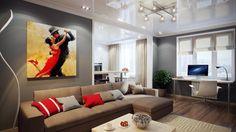 peinture salon grise, canapé beige et décoration rouge