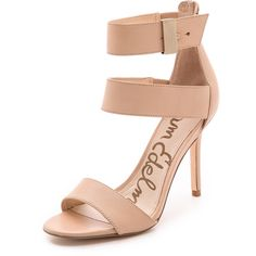 Sam Edelman Addie Ankle Strap Sandals - Buff Nude ($91) ❤ liked on Polyvore featuring shoes, sandals, heels, sam edelman, ankle wrap sandals, sam edelman shoes, ankle strap sandals, leather sandals and leather shoes