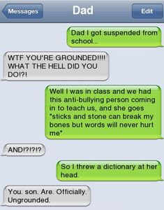 Epic text - Dad I got suspended - http://jokideo.com/