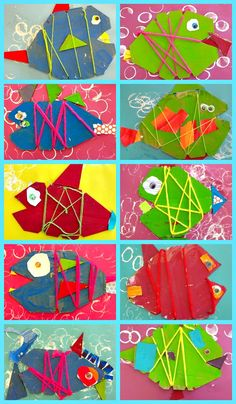 Cute fish craft....notched cardboard fish, stamped paper (with paper towel tube), paint, yarn, and colorful scraps for tail, fins and eyes