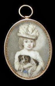 English School, late 18th Century -  A Child, wearing white dress with blue sash and a white hat with feathers, holding a black and white dog. Gold frame. Oval, 50mm (1 15/16in) high