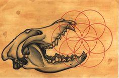 11 X 17 Sacred Totem Print Wolf Skull Limited by UniversalRites. $30.00, via Etsy.