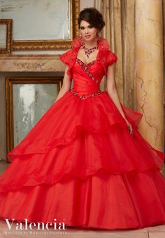 Morilee Valencia Quinceanera Dress 60001 JEWELED BEADING ON FLOUNCED ORGANZA BALL GOWN  Matching Bolero Jacket. Colors Available: Red, Champagne, Lilac, White (Color of this dress): Red