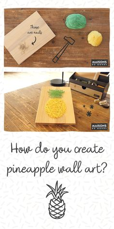 Find out how to add some zest to a plain wooden board. Get fruity with your wall decor and try out different colourful fruits, we went for a pineapple! Do It Yourself Home, Create Yourself, Diy Wall Art, Wall Decor, Pineapple, Colorful Fruit, Wooden Art, Diy Videos, Flamingo