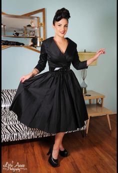 Pin Up Girl Clothing - Birdie Dress in Black Sateen with Three Quarter Sleeves.  How adorable is this dress? I will answer my own rhetorical question: pretty darn adorable.