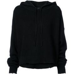Rta oversized ribbed hoodie (€410) ❤ liked on Polyvore featuring tops, hoodies, black, ribbed long sleeve top, cotton hoodies, long sleeve hoodies, cotton hooded sweatshirt and long sleeve tops