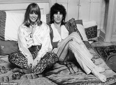 His inspiration: The Rolling Stones rock star, 72, has confessed the majority of the clothes he owns are borrowed from the women in his life [Pictured: Richards with girlfriend Anita Pallenberg in 1969]