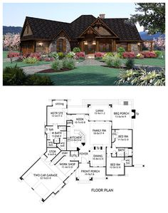 #Craftsman #HousePlan 65867 has 1848 square feet of living space, 3 bedrooms and 2 full bathrooms. The two car garage includes a storage area and workshop. We also love the outdoor space with back lanai and BBQ porch. A fireplace is shared by the formal dining room and family room which is open to the kitchen except for a large bar. Master bedroom is complete with his and hers closets, full bathroom and a sitting area.