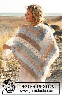 Ponchos & Shawls - Free knitting patterns and crochet patterns by DROPS Design Knitting Designs, Knitting Patterns Free, Free Knitting, Free Pattern, Crochet Patterns, Drops Design, Knitted Poncho, Knitted Shawls, Crochet Woman