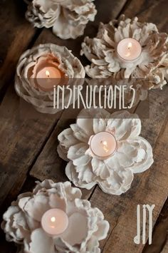 portavela de flores con yeso