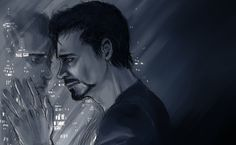 Tony look in the night like he miss someone. Who would it be? What is he thinking? A wonderful fanart!! #Iron Man #Tony Stark #night #sad It's not my, only found it on google search...