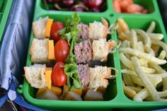 """""""Cheeseburger and fries"""" for lunch - mini cheeseburger kebabs and veggie fries"""