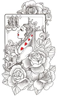 Queen Of Hearts Tattoo Idea Body Mods Tattoos Tattoo Designs