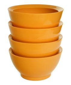 Orange 20-Oz. No-Spill Smart Lip Bowl - Set of Four