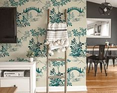 Adhesive wallpaper   Etsy How To Hang Wallpaper, Self Adhesive Wallpaper, Of Wallpaper, Peel And Stick Wallpaper, Chinoiserie, Matte Material, Traditional Wallpaper, Paint Cans, Floral Wall