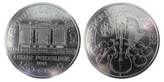 Philharmonic, 1oz Silver, 2012 One of the most beautiful bullion coins to be found and one of a few denominated in Euro. The obverse shows the Great Organ of the Golden Hall of Vienna, whilst the reverse features a montage of orchestral instruments including a bassoon, cello, harp, violin, Viennese horn and a string bass. All part of a respectable 800 year tradition of Austrian coinage in .999 fine silver. Bulk buying 20 per tube.