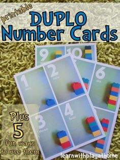 Learn with Play at home: Free Printable Duplo Number Cards. Plus 5 fun ways to use them!