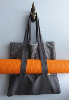 Yoga Tote Beach bag Grocery bag  French charcoal. by SableEtMer