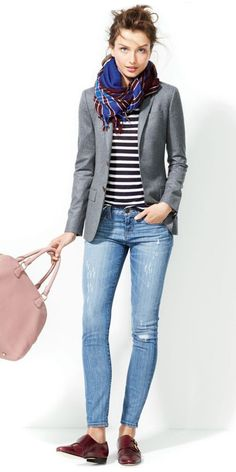 This is J Crew Style, LOVE scarf, blazer & skinny jeans. I'd like pointed toe pumps better. You could wear a different tshirt with blazer for a evening out