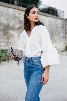 Statement white bell sleeve top