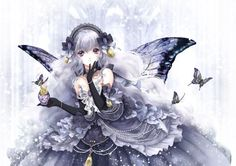 ✮ ANIME ART ✮ fairy. . .fae. . .butterfly wings. . .butterflies. . .silver hair. . .dress. . .gown. . .ribbons. . .lace. . .pearls. . .gloves. . .perfume bottle. . .sparkling. . .fantasy. . .cute. . .kawaii by therese