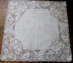 "Filet Crochet Edged Hankie with ""Amanda"" sewn on on corner."