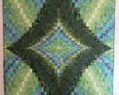 Handmade Green Batik Emerald Isle Bargello Wall Hanging or Lap Quilt from QuiltsClothsCovers on Etsy, $200