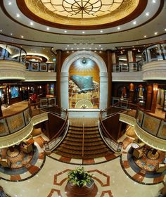 Cunard's Queen Victoria Grand Lobby.  Elegantly beautiful ship where we spent a portion of our honeymoon on.