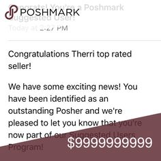 YAY!!! I'm a Suggested User!!! Omg! Just got notification that Im selected to be a Poshmark Suggested User.... So happy! Thanks to all of my Posh Friends, Posh Family, & Posh Shoppers ....💃🏽💃🏽💃🏽💃🏽💃🏽💋💋💋💋💋💋💋💋💋💋💋💋💋 Accessories
