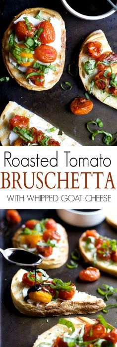 Roasted Tomato Bruschetta with Whipped Goat and a Balsamic Reduction Drizzle - an appetizer that everyone will love and only takes minutes to make!