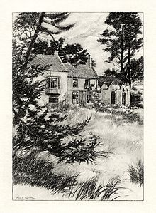 A illustration by W. E. F. Britten showing Somersby Rectory, where Tennyson was raised and began writing. --  Wikipedia, the free encyclopedia