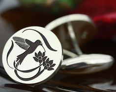"My Personal Jewellery  -  The Design Station Ltd - HUMMINGBIRD (A) Bespoke Personalised Silver Cufflinks, <span class=""ProductDetailsPriceIncTax"">£102.00 (inc VAT 20% (UK"