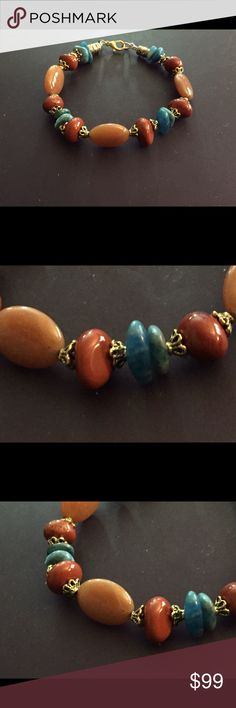 OOAK orange Aventurine Jasper Turquoise bracelet OOAK handmade artisan bracelet of yellow Aventurine accented with red Jasper and Turquoise with Nu-gold tarnish proof brass and lobster clasp. Jewelry Bracelets