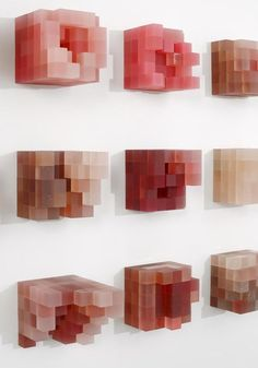 Anatomic Particulars by David Adey Translucent urethane plastic, pigment, glitter Dimensions: 1 x 1 inch (each cube) 5 x 5 inches (each cluster)