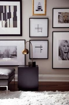 black, white + a little bit of gold lovely picture wall