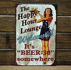 """HAPPY HOUR"" Metal Poster Vintage Tin Sign Old Decor Beer Bar Pub Home Wall Art #Unbranded #Vintage"