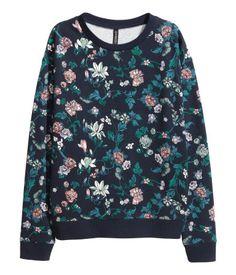 Sweatshirt mit Druck | Dunkelblau/Geblümt | Damen | H&M DE