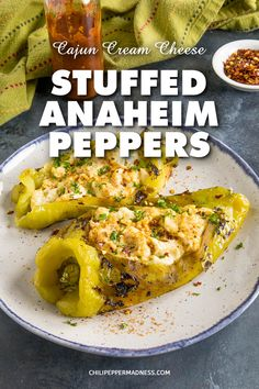 Cajun Cream Cheese Stuffed Anaheim Peppers - Looking for your next favorite stuffed pepper recipe? Try this recipe for Anaheim chili peppers stuffed with Cajun seasoned cream cheese that are baked or grilled. They're cheesy and delicious. Stuffed Anaheim Peppers, Cheese Stuffed Peppers, Stuffed Green Peppers, Mexican Food Recipes, Vegetarian Recipes, Cooking Recipes, Mexican Dishes, Veggie Side Dishes, Side Dish Recipes