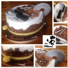 Carpenter cake with hammer, screwdriver, screws, tape measure and saw