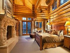 Log cabin bedroom style Log cabin bedrooms, Log home bedroom, Cabin homes Log Home Bedroom, Log Cabin Bedrooms, Log Cabin Living, Log Cabin Homes, Dream Bedroom, Log Cabins, Mountain Cabins, Bedroom Fireplace, Bedroom Romantic