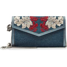 Alexander McQueen Embroidered Denim Shoulder Bag ($1,335) ❤ liked on Polyvore featuring bags, handbags, shoulder bags, clutches, alexander mcqueen, none, embroidered purse, multi colored handbags, alexander mcqueen handbags and blue purse
