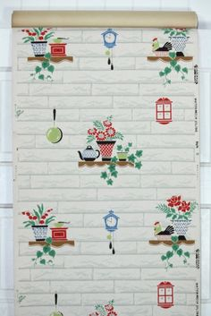 Vintage Kitchen Wallpaper Woodgrain background with black and red flowers Vintage Bedroom Furniture, Bedroom Vintage, Vintage Walls, Vintage Kitchen Wallpaper Patterns, Black And Red Kitchen, Vintage Girls Rooms, Picture Tree, Jewelry Christmas Tree, Vintage Crafts
