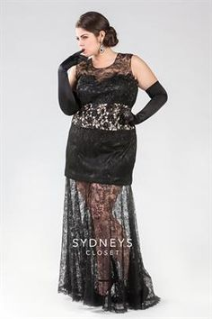Long black lace gown with satin under skirt   Plus Size Dresses & Sets   OneStopPlus