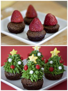 Christmas Tree Brownie Bites made with strawberries!  http://www.ericasweettooth.com/2010/12/strawberry-christmas-tree-brownie-bites.html