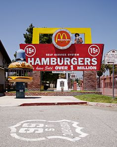 First McDonald's was opened May 15,  1940 on Route 66 in San Bernardino, California.  Pinner says: I remember the hamburger jail.  We used to play in one just like that!  Haven't seen one since then. Cool!