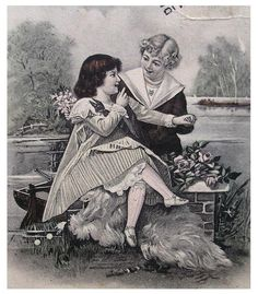 Edwardian French Postcard  Boy and Girl by ChicEtChoc on Etsy, $3.50